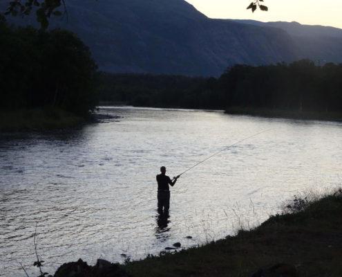 Summer night fishing in lower part of Stueneskulpen